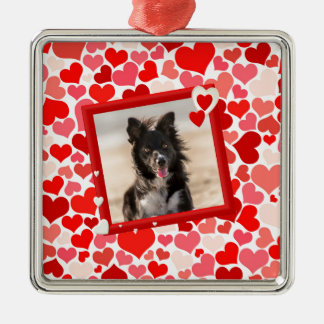 Valentines Border Collie Dog Hearts Metal Ornament