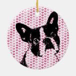 Valentines - Boston Terrier Silhouette Ceramic Ornament