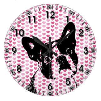 Valentines - Boston Terrier Silhouette Wall Clock