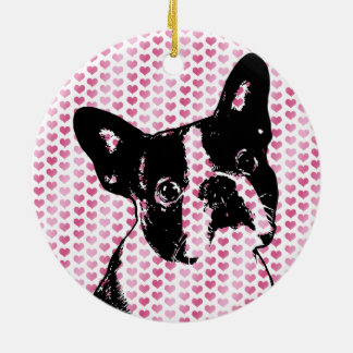 Valentines - Boston Terrier Silhouette Double-Sided Ceramic Round Christmas Ornament