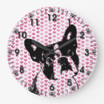 Valentines - Boston Terrier Silhouette Wall Clock