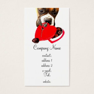 Valentine's Boxer dog business card