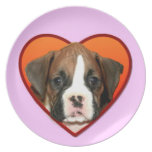 Valentine's boxer puppy party plate