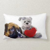 Valentine's boxer puppy pillow