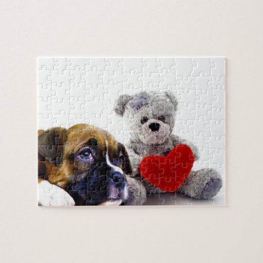 Valentine's boxer puppy puzzle