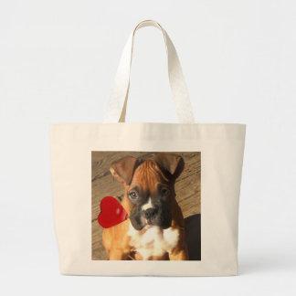 Valentine's Boxer puppy tote bag