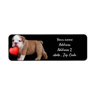 Valentines Bulldog puppy Address Labels