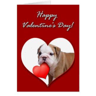 Valentine's bulldog puppy Card