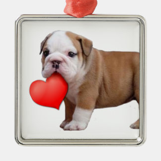Valentines Bulldog puppy ornament
