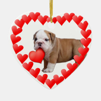 Valentine's bulldog puppy ornament