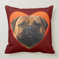Valentine's bullmastiff American Mojo Throw Pillow