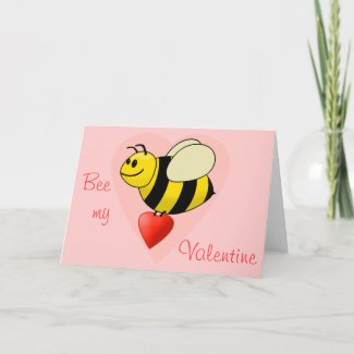 Valentine's Bumble Bee - Bee my Valentine card