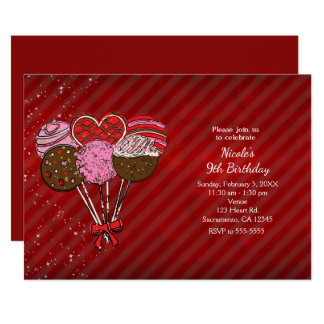 Valentine's Cake Pops Birthday Party Invitations