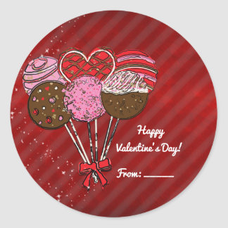 Valentine's Cake Pops Cute Custom Party Favor Classic Round Sticker