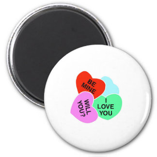 Valentines Candy Hearts 2 2 Inch Round Magnet