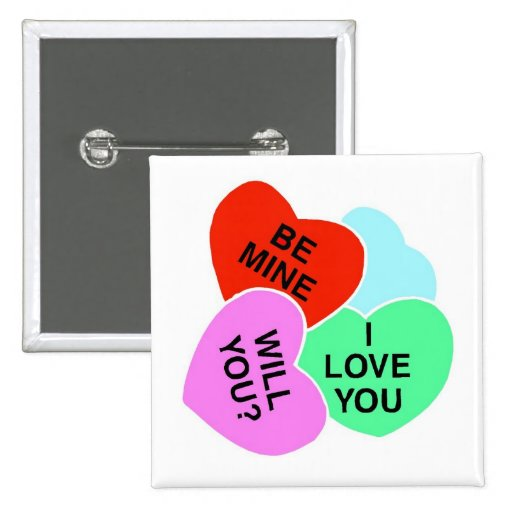 Valentines Candy Hearts 2 2 Inch Square Button