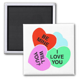 Valentines Candy Hearts 2 2 Inch Square Magnet