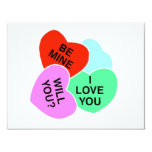 Valentines Candy Hearts 2 Custom Announcements