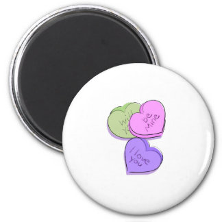 Valentines Candy Hearts 2 Inch Round Magnet