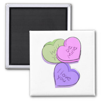 Valentines Candy Hearts 2 Inch Square Magnet