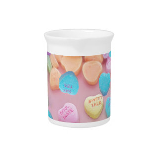 valentines candy hearts drink pitcher