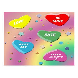 Valentine's Candy Hearts Postcard
