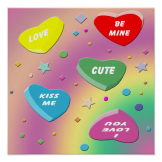 Valentine's Candy Hearts Poster