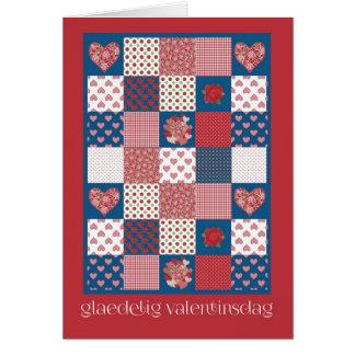 Valentine's Card Danish Greeting, Hearts, Roses