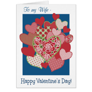 Valentine's Card for Wife, Hearts, Roses