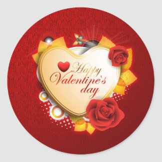 Valentines Card Heart and Flowers Classic Round Sticker