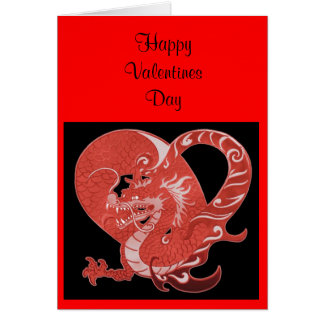 Valentines Card  Hearts and Dragon