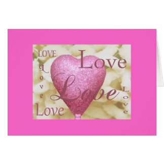 Valentines Card  Hearts Pink