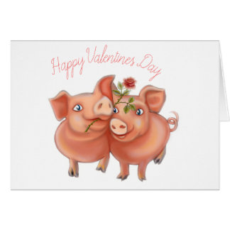 valentines card with funny pigs