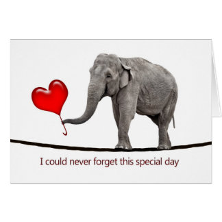 Valentine's card with tightrope walking elephant