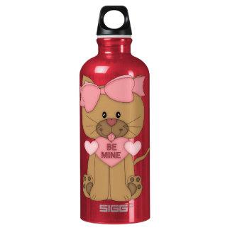 Valentines Cat Be Mine Heart Aluminum Water Bottle