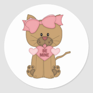 Valentines Cat Be Mine Heart Classic Round Sticker