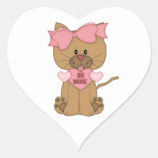 Valentines Cat Be Mine Heart Heart Sticker