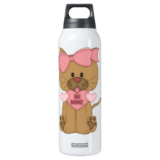 Valentines Cat Be Mine Heart Insulated Water Bottle