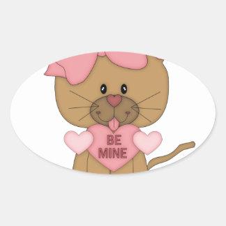 Valentines Cat Be Mine Heart Oval Sticker