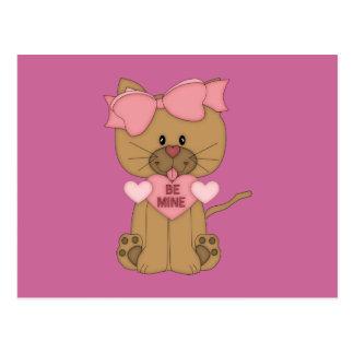 Valentines Cat Be Mine Heart Postcard