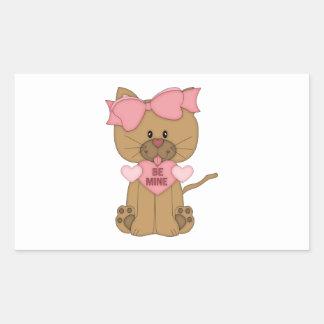 Valentines Cat Be Mine Heart Rectangular Sticker
