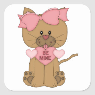 Valentines Cat Be Mine Heart Square Sticker