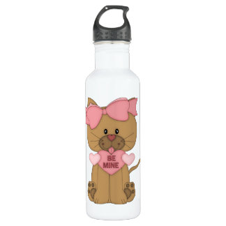 Valentines Cat Be Mine Heart Stainless Steel Water Bottle