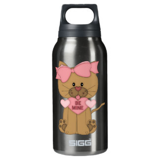 Valentines Cat Be Mine Heart Thermos Water Bottle