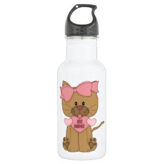 Valentines Cat Be Mine Heart Water Bottle
