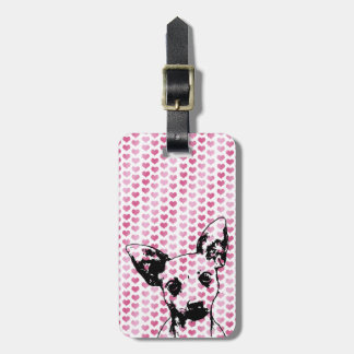 Valentines - Chihuahua Silhouette Bag Tag