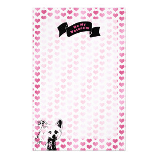 Valentines - Chinese Crested Silhouette Stationery Paper