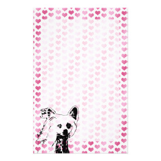 Valentines - Chinese Crested Silhouette Personalized Stationery