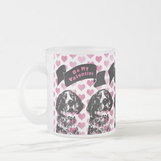 Valentines - Coonhound Silhouette - Chuck 10 Oz Frosted Glass Coffee Mug