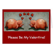 Valentines: Cute Chubby Pig Couple, Original Art Card